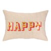 D.L. Rhein Happy Embroidered Decorative Pillow