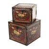 Woodland Imports 2 Piece Wooden Leather Storage Box Set
