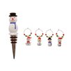 <strong>Glass Snowmen Stopper and Wine Charms Set</strong> by October Hill
