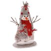 "October Hill 12"" Tall Red Felt and Paper Birch Snowman Holiday Accent"