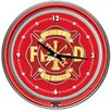 """<strong>14"""" Fire Fighter Wall Clock</strong> by Trademark Global"""