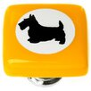 "Sietto New Vintage 1.25"" Cameo Scottie Dog Square Knob"