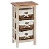 Woodland Imports Antiqued Rattan Wood 3 Drawer Cabinet