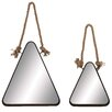 Woodland Imports 2 Piece Triangle Wall Mirror Set with Rope Handle