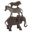 Woodland Imports Polystone African Animals Stack of Elephant, Zebra and Lion Figurine