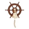Woodland Imports Attractive Wood Ship Wheel Bell Wall Décor
