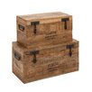 <strong>Woodland Imports</strong> The Coolest and Simplest 2 Piece Wood Metal Trunk Set