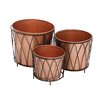 <strong>Woodland Imports</strong> The Shiny 3 Piece Round Rail Planter Set