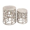 <strong>Woodland Imports</strong> The Sparkling 2 Piece Aluminum Stool Set