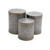 Woodland Imports The Impressive 3 Piece Metal Galvanized Stool Set