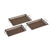 <strong>Woodland Imports</strong> Well Designed Border Attractive 3 Piece Metal Tray Set