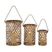 Woodland Imports 3 Piece Classy Attractive Metal Candle Lantern Set