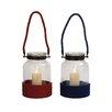 Woodland Imports Classy Glass Lantern (Set of 2)