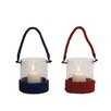 <strong>Woodland Imports</strong> Glass Lantern (Set of 2)