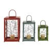 Woodland Imports Beautiful Styled 3 Piece Metal Lantern Set