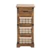 Woodland Imports Cool Wood / Metal 3 Drawer Basket Chest