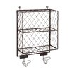 Woodland Imports Attractive Metal Shelf with Hooks