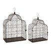 Woodland Imports 2 Piece Classy Metal Wire Bird Cage Set