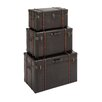 <strong>Woodland Imports</strong> 3 Piece Stunning Wood / Leather Trunk Set