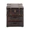 <strong>Woodland Imports</strong> Rich Wood / Leather Side Table Chest
