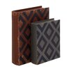 <strong>Woodland Imports</strong> 2 Piece Classy Wood Leather Book Box Set