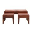 Woodland Imports 3 Piece Heartthrob Wood Leather Bench Set