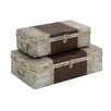 Woodland Imports Antique 2 Piece Metal Leather Case Set