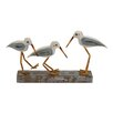 Woodland Imports The Mesmerizing Wood Metal 3 Birds on Stand Sculpture