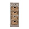 Woodland Imports Rustic Wood 4 Basket Chest