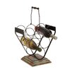 <strong>Woodland Imports</strong> Creative Styled Stylish Metal Wood Wine Holder