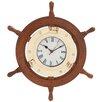 Woodland Imports Beautiful Styled Wood Brass Ship Wheel Clock