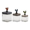 Woodland Imports 3 Piece Too Cute Glass Wood Canister Set