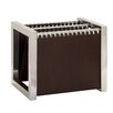 Woodland Imports Slick Stainless Steel Leather Magazine Holder