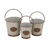 Woodland Imports 3 Piece Victoria Unique Patterned Metal Pail Set