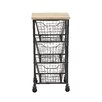 Woodland Imports Durable Constructed Metal Wood Storage Car