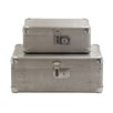 Woodland Imports 2 Piece Wood Aluminum Case Set