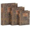 Woodland Imports 3 Piece Fascinating Styled Wood Book Box Set