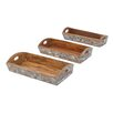 <strong>Woodland Imports</strong> 3 Piece Wooden Serving Tray Set