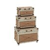 <strong>Woodland Imports</strong> 3 Piece Old Rustic Wood Trunk Set