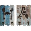 Woodland Imports 2 Piece Wood and Metal Wall Hooks Set