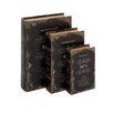 <strong>Woodland Imports</strong> 3 Piece Leather Book Box Set