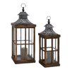 Woodland Imports 2 Piece Wood and Metal Glass Lantern Set