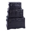 Woodland Imports 3 Piece Wooden Leather Trunk Set