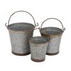 <strong>3 Piece Metal Galvanized Bucket Set</strong> by Woodland Imports