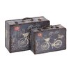 2 Piece Wooden Vinyl Printed Vintage Suitcase Set