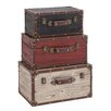 <strong>Woodland Imports</strong> 3 Piece Wooden Trunk Set