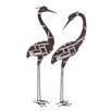 <strong>Woodland Imports</strong> 2 Piece Metal Crane Décor Statue Set
