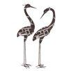 Woodland Imports 2 Piece Metal Crane Décor Statue Set