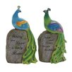 <strong>2 Piece Polystone Peacock On Stock Statue Set</strong> by Woodland Imports