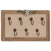 Woodland Imports Wood Framed Floral Art Wall Hook